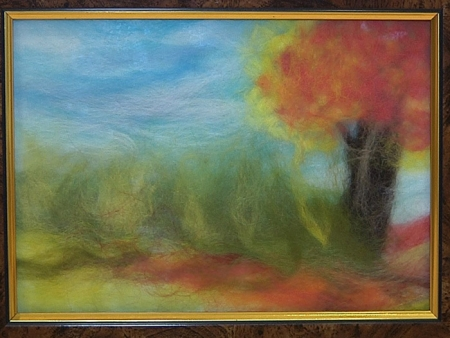 Мастер-класс «Картина из шерсти Осенний пейзаж»